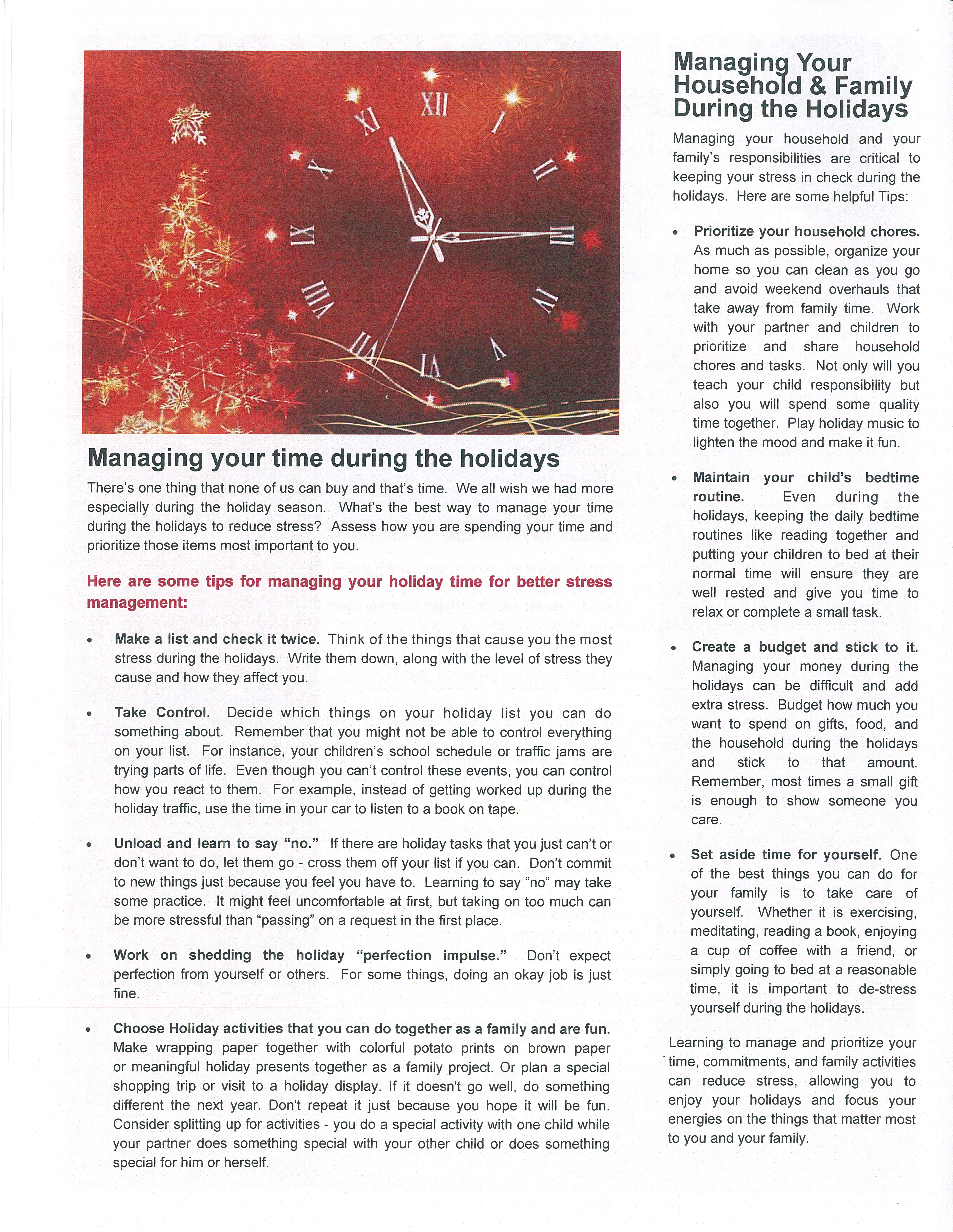 An article about managing your time and your home during the holidays