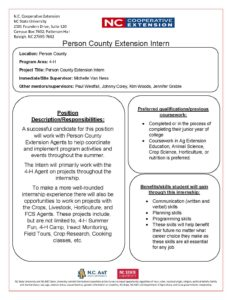 Cover photo for Person County 4-H Seeking Summer Intern