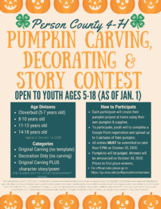 Cover photo for Person County 4-H Pumpkin Decorating Contest