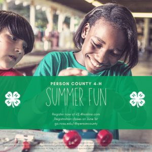 Cover photo for Summer Fun 2021 - Person County 4-H